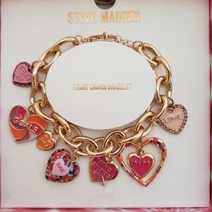 Steve Madden Heart Charm Bracelet Gold-Tone